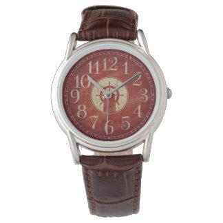Unique Decorative Nautical Red Vintage Ship Wheel Watch