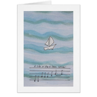 Unique design, blue card with boat and song lyrics
