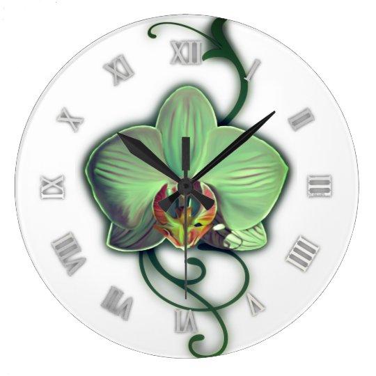 Unique design orchid wall clock