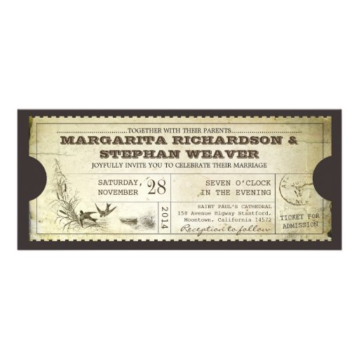 unique design vintage ticket wedding invitations