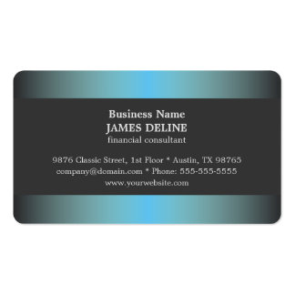 Unique Elegant Blue Metal Financial Consultant Pack Of Standard Business Cards