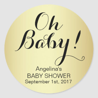 Unique Elegant OH BABY! Gold Baby Shower Classic Round Sticker