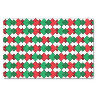 "Unique Elegant Red Green White Argyle Christmas 10"" X 15"" Tissue Paper"
