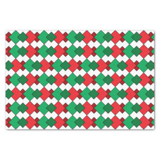 Unique Elegant Red Green White Argyle Christmas Tissue Paper