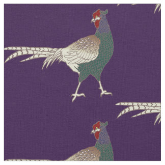 Unique fabric Retro chic pheasant bird purple