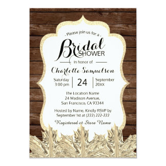 UNIQUE Fall Autumn Rustic Wood Gold Bridal Shower Card