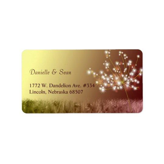 Unique Fall Dandelion Wedding Address Label