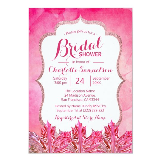Unique Fall Pink Watercolor Leaves Bridal Shower Card