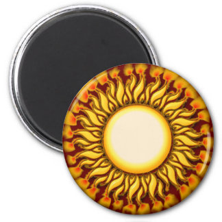 Unique Flaming Tribal Sun Design 6 Cm Round Magnet