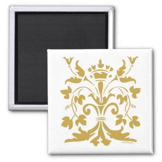 Unique Fleur de lis Queen (antique gold) Square Magnet