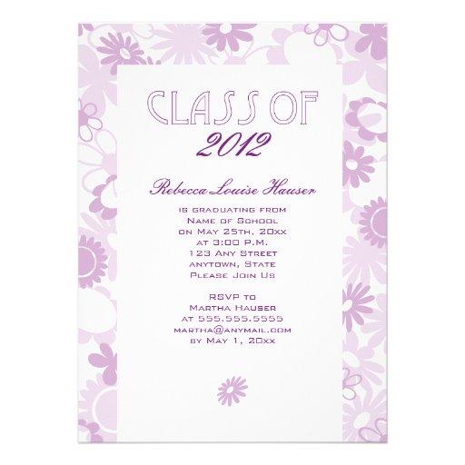 Unique Floral Grad Announcement/Invite: Purple