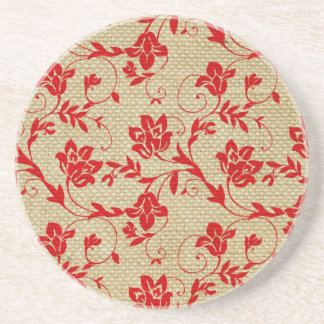 Unique Floral Pattern On Linen Custom Red Coaster