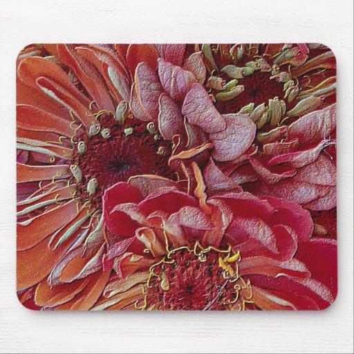 unique floral, red mouse pad
