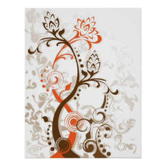 Unique Flower Floral Leaf Abstract Silhouette Poster