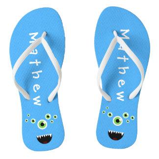 Unique Funny Crazy Cute Blue Monster Flip Flops