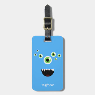 Unique Funny Crazy Cute Blue Monster Luggage Tag