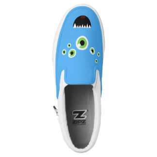 Unique Funny Crazy Cute Blue Monster Slip On Shoes