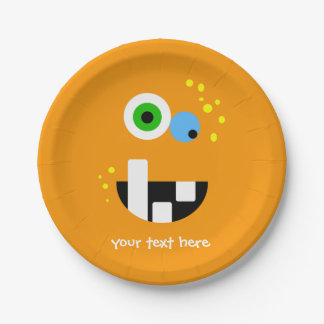 Unique Funny Crazy Oragne Monster Paper Plate