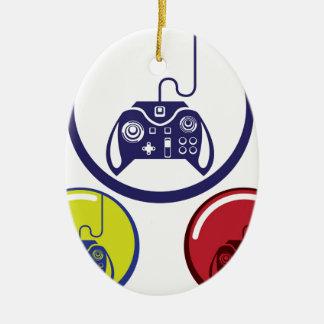 Unique Game Controller Icon Vector Art Ceramic Oval Decoration