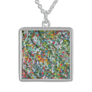 Unique Gift Medium Sterling Silver Square Necklace