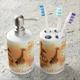 Unique Giraffes Soap Dispenser And Toothbrush Holder