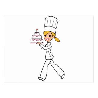 Unique Girl Chef Illustration Postcard
