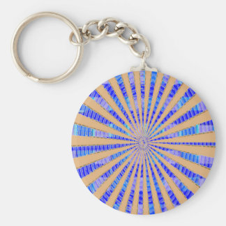 Unique Gold Star Basic Round Button Key Ring