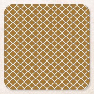 Unique Golden Brown Quatrefoil Maroccan Pattern Square Paper Coaster
