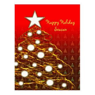 Unique Golden Christmas tree Postcard