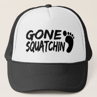 Unique GONE SQUATCHIN logo with FOOTPRINT Trucker Hat