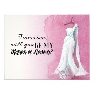 "Unique Gown ""Will you be my matron of honour"" Card"