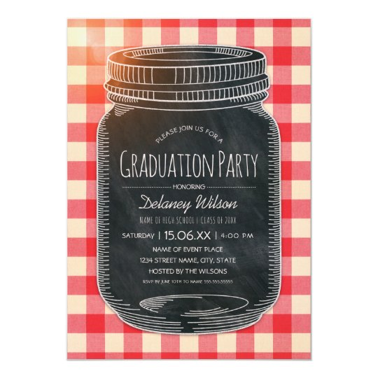 Unique Graduation Party Rustic Country Mason Jar Card