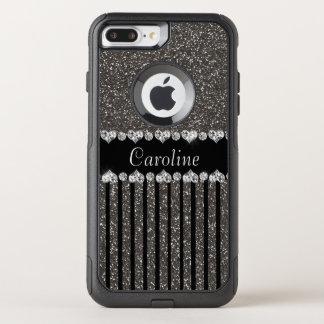 Unique Gray Glitter With Name OtterBox Commuter iPhone 8 Plus/7 Plus Case
