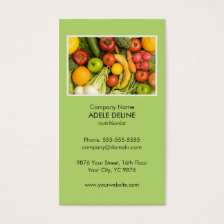 Unique Green Nutritionist Diet Health Business Card