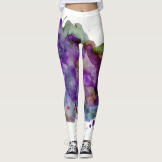 Unique Green & Purple Watercolor Paint Splatter Leggings