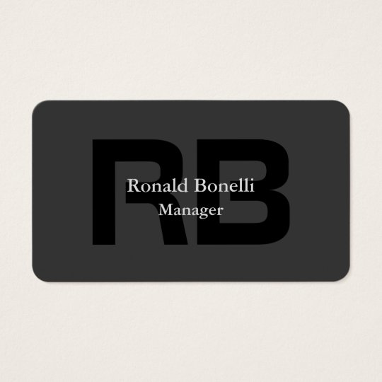 Unique Grey Black Monogram Manager Business Card