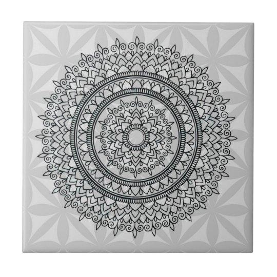 Unique Grey Floral Hand Drawn Mandala Pattern Small