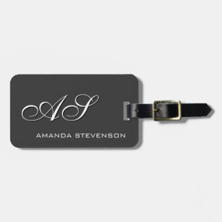 Unique Grey White Script Monogram Luggage Tag