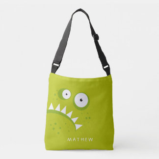 Unique Grumpy Angry Funny Scary Green Monster Crossbody Bag