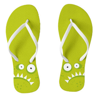 Unique Grumpy Angry Funny Scary Green Monster Flip Flops