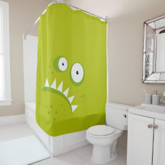 Unique Grumpy Angry Funny Scary Green Monster Shower Curtain