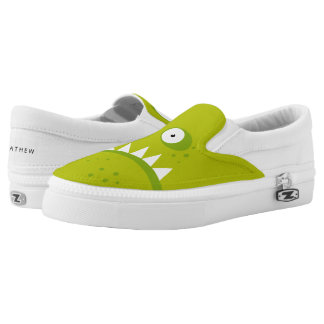 Unique Grumpy Angry Funny Scary Green Monster Slip-On Shoes