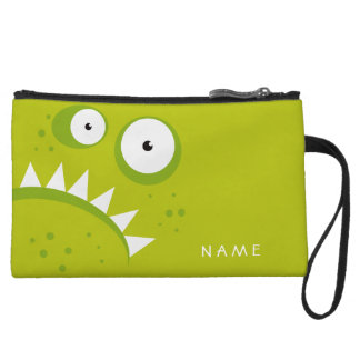 Unique Grumpy Angry Funny Scary Green Monster Wristlet