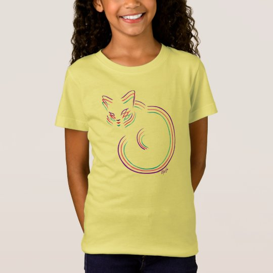 Unique Hand Drawn 3-in-1 Cat Girl's T-shirt