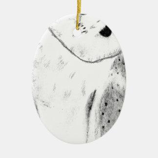 Unique Hand Drawn Barn Owl Ceramic Oval Decoration