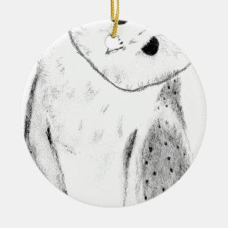 Unique Hand Drawn Barn Owl Round Ceramic Decoration