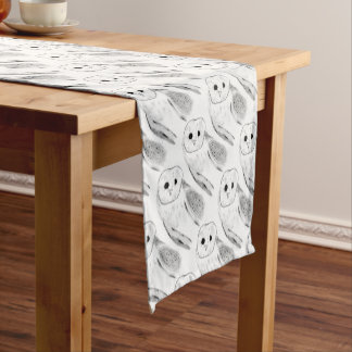 Unique Hand Drawn Barn Owl Short Table Runner