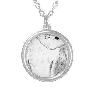 Unique Hand Drawn Barn Owl Silver Plated Necklace