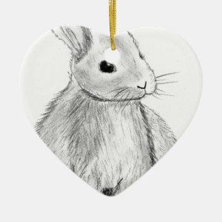 Unique Hand Drawn Bunny Ceramic Heart Decoration