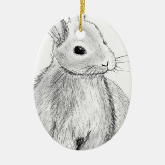 Unique Hand Drawn Bunny Ceramic Oval Decoration